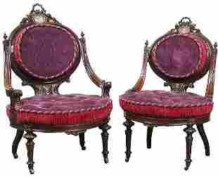 Pair of exquisite 1870 Renaissance Victorian ladies