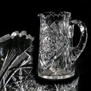 Brilliant cut glass pitcher, tankard shape, hobstar