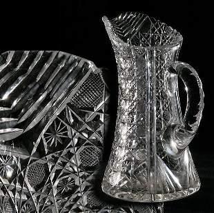 Beautiful brilliant cut glass water pitcher, harvar