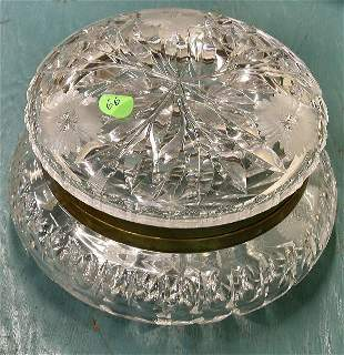 Large brilliant cut glass box with hinged lid, flor