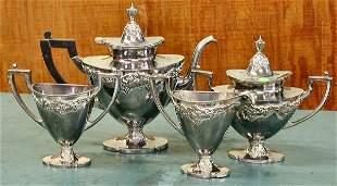 Heavy Victorian silverplate four piece tea set, Der