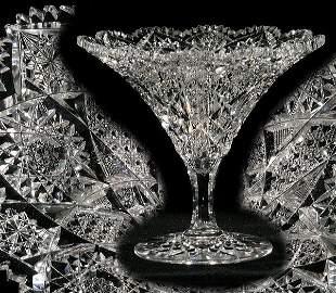 Rare formed brilliant cut glass compote/vase, 8 1/2