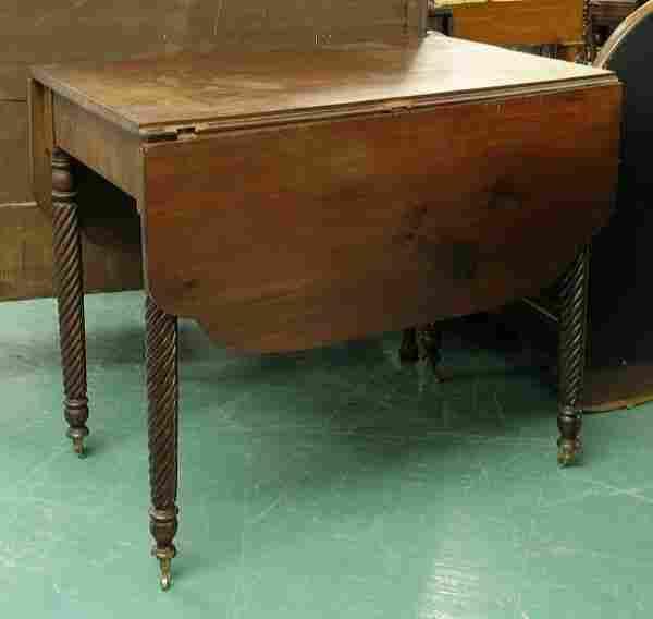 1810 Sheraton drop leaf table, solid mahogany, ell