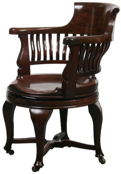 Great c.1900 colonial revival desk chair, solid mahogan