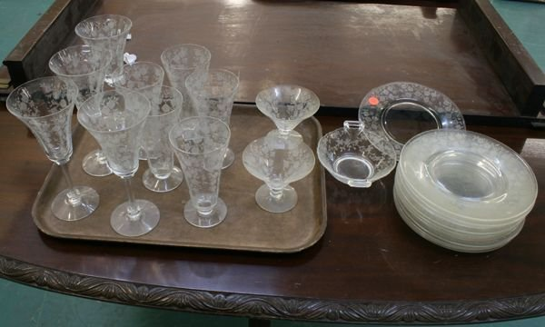 1002: Lot of 24 pieces depression glass luncheon set, e