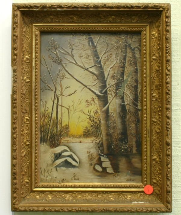 1007: Oil on board in Victorian gilt frame, snowy fores