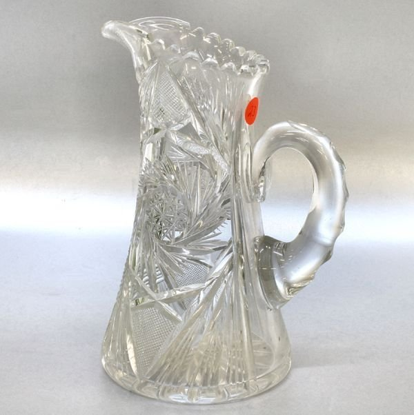 "1023: Brilliant cut glass water pitcher, 10""t, large zi"