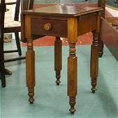 1029: Mid 1800 Empire one drawer drop leaf stand, solid