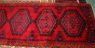 "10'x 3'3"" Persian rug, red field, diamond medallions wi"
