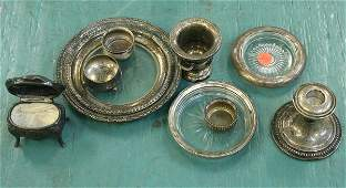 1208 Lot of 7 pieces sterling 3 assorted pieces metal