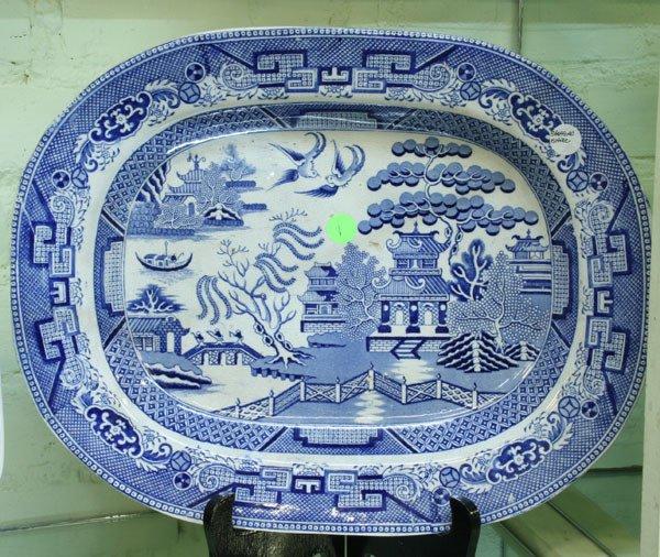 1: Mid 1800 Staffordshire Ironstone platter, Blue Willo