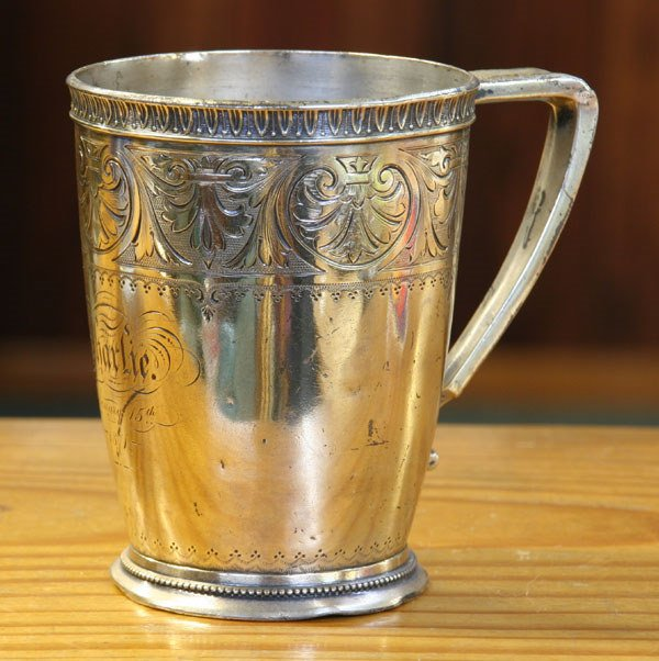 5: 19th century coin silver cup, leaf molded rim, engra