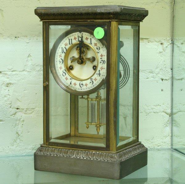 9: Crystal Regulator Mantel clock, beveled glass on all