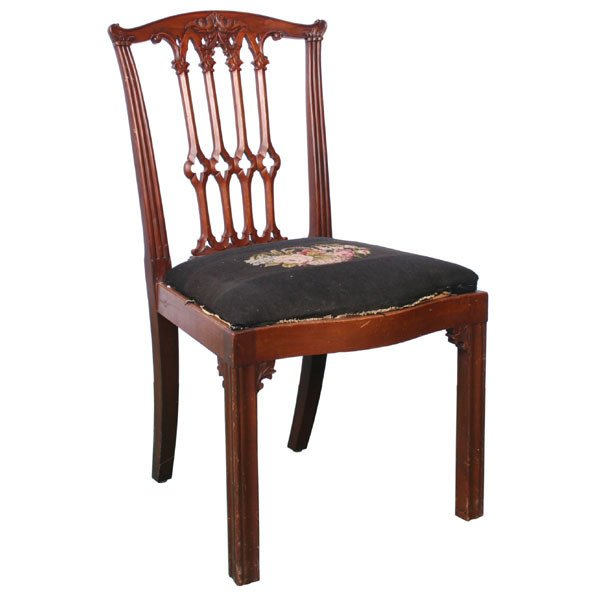 10: Early 1900 Chippendale revival chair, solid mahogan