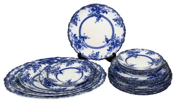 11: 22 piece Flow blue dinner set, W. Adams and Co,, En