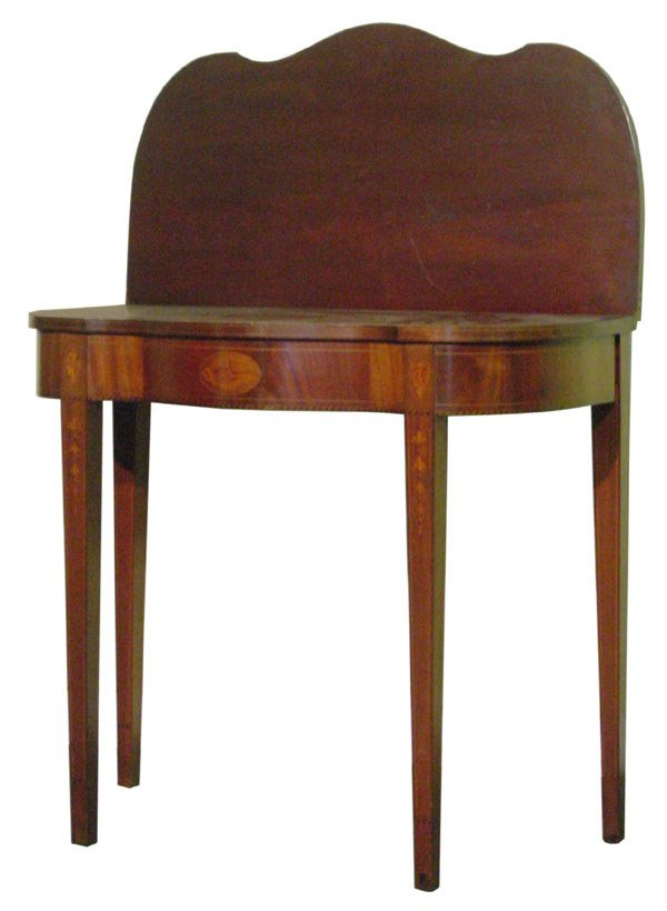 12: Early 1900 Hepplewhite Revival fold over card table