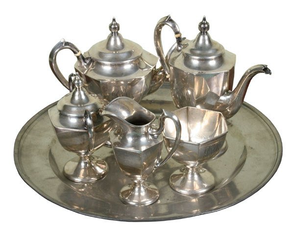 13: Five piece sterling Colonial Revival tea set, RB to