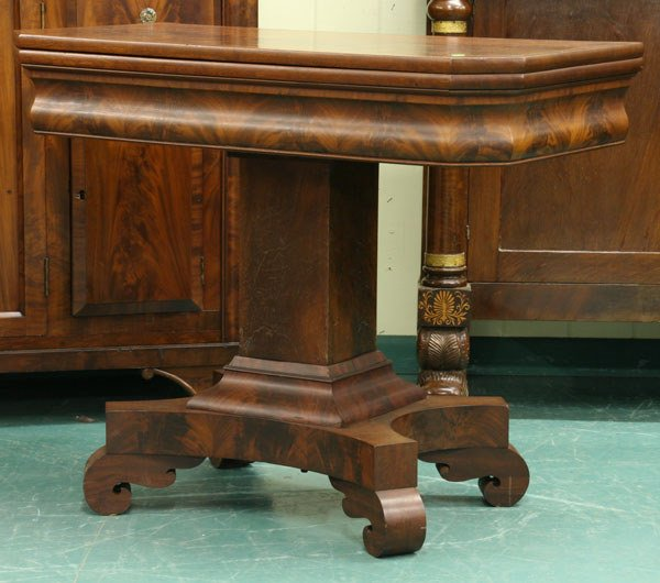 17: 1830 Empire foldover card table, matched flame maho