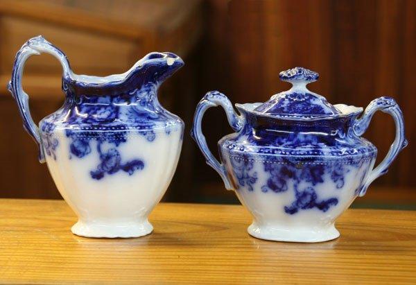 18: Flow blue sugar & creamer with lid, Verona pattern,