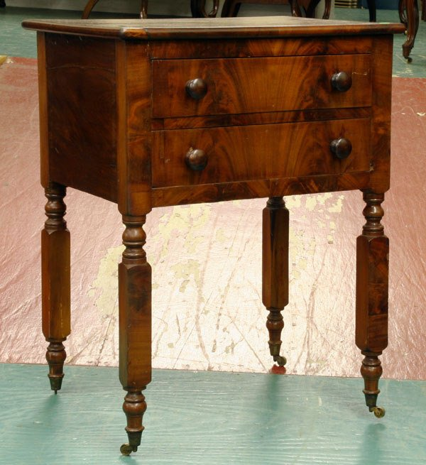 21: Mid 1800 Sheraton two drawer stand, flame mahogany,