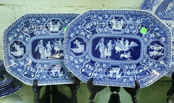 22: Pair blue white platters, Copeland Spode, Greek pat