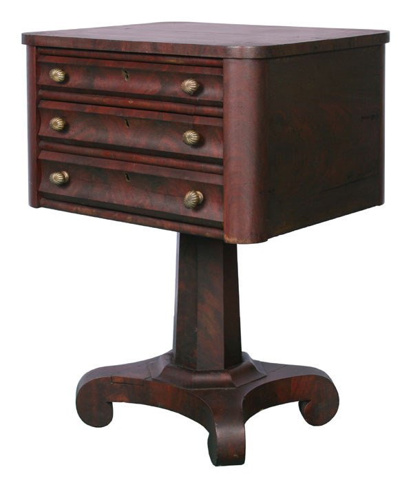 24: 1830 Empire three drawer stand, matched flame mahog