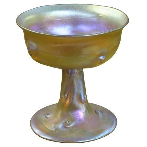 119: Tiffany stemmed goblet, gold iridescence, signed L