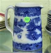 """145: Late 1800 Flow Blue milk pitcher, 6""""t, Blue Willow"""