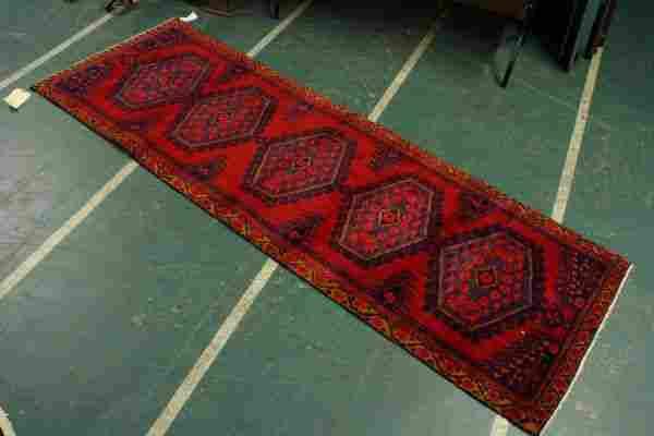 "10' x 3' 3"" Persian rug, red field, diamond medall"