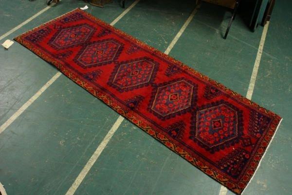 "304: 10' x 3' 3"" Persian rug, red field, diamond medall"