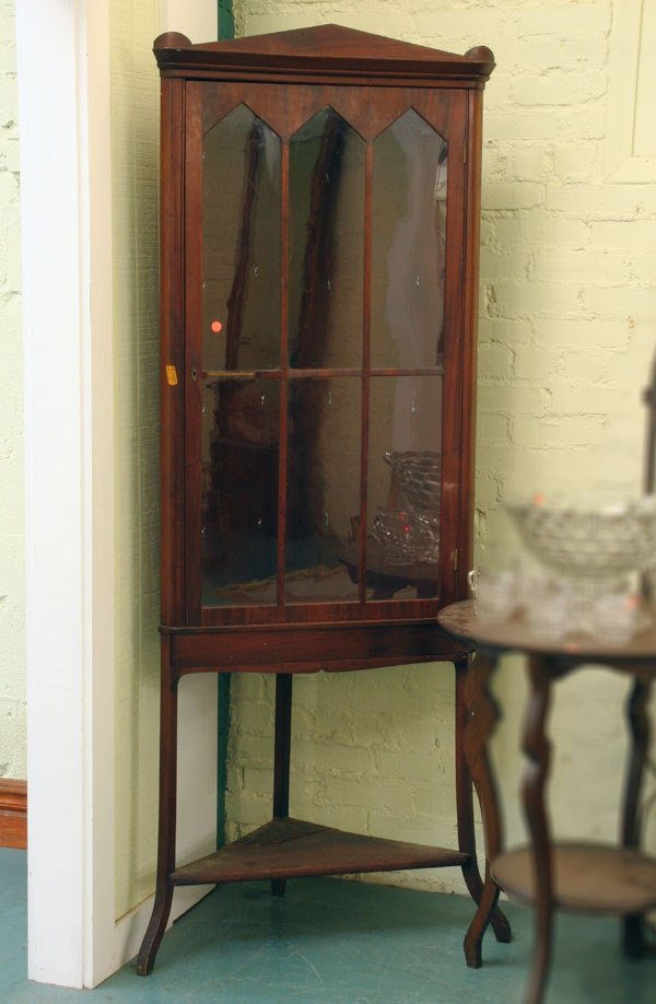 1003: Late 1800 Classical Revival corner cabinet, solid