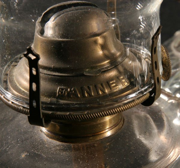 1018: Three Victorian chamber lamps, various patterns,