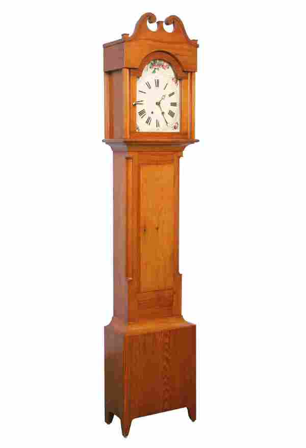 1100: Early 19th century tall clock, white pine, Morbie