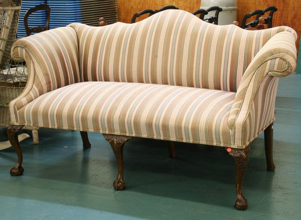 1156: Mid 1900 Chippendale Revival small sofa, solid ma