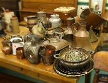 1312 Lot of 41 pieces of metal ware copper brass et