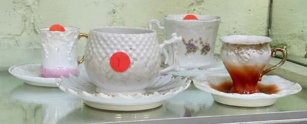 """1001: Lot of four late 1800""""s German porcelain cups and"""
