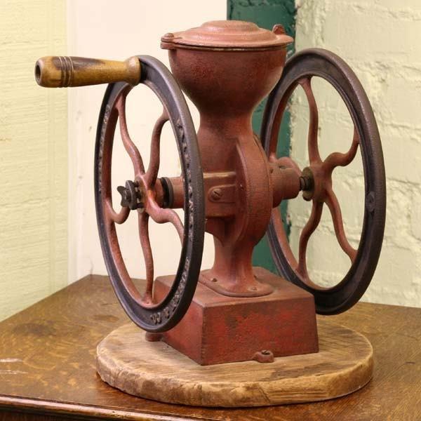 "1002: 19th century double wheel coffee grinder, 12""t, F"