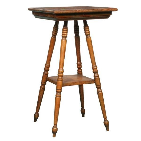 """1003: Small oak table/fern stand, 16"""" square, turned le"""