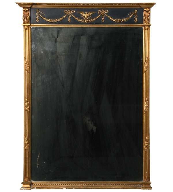 1007: Mid 1900 Federal style gilt wall mirror, draped g