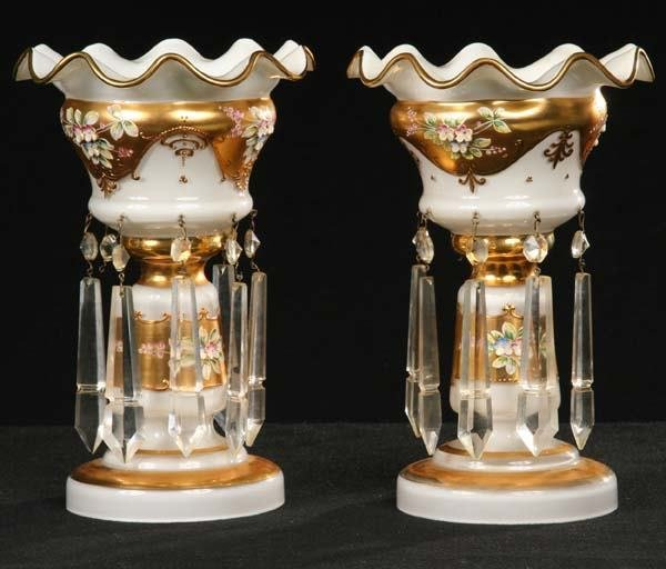 1011: Pair of Victorian style lustres, white overlay, h