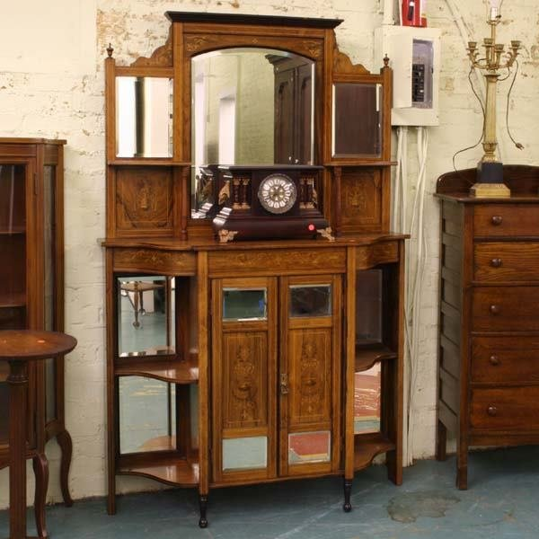 1012: Edwardian parlor cabinet, rosewood, satin wood in