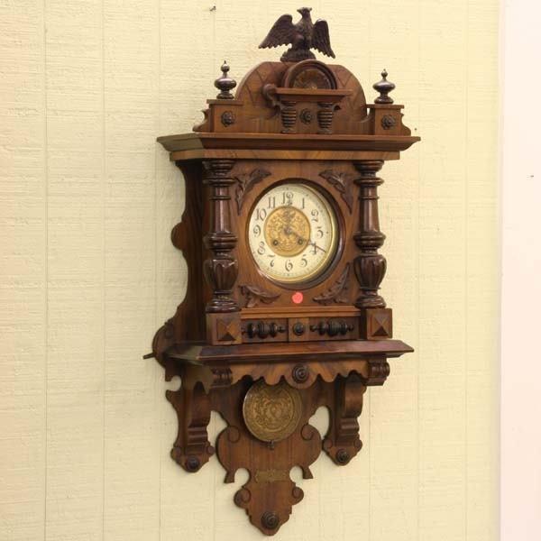 1013: Late 1800's German bracket wall clock, solid waln