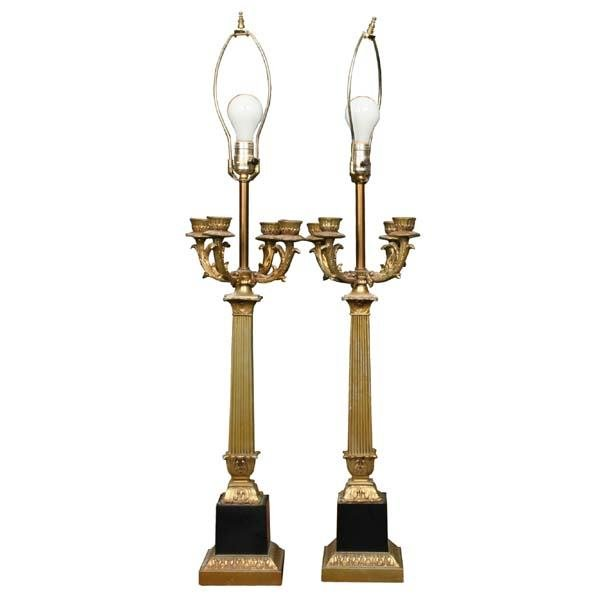 1014: Pair of mid 1900 French style candelabra table la