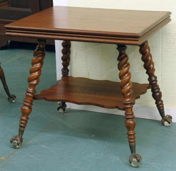 1016: Circa 1900 library table, solid tiger oak, labele