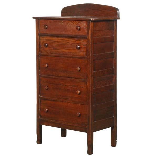 1018: Circa 1900 narrow five drawer chest, solid oak, p