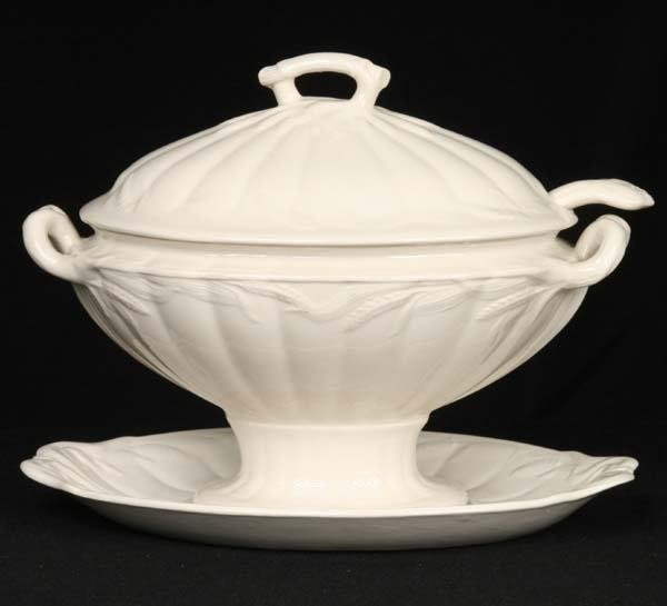 1019: Large ironstone covered tureen with ladle and und