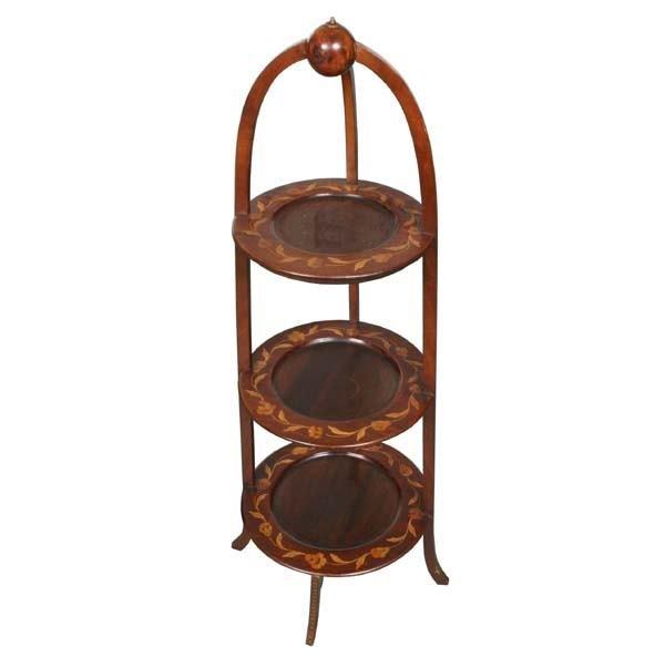 1099: Fine early 1900 three shelf pie/muffin stand, sol