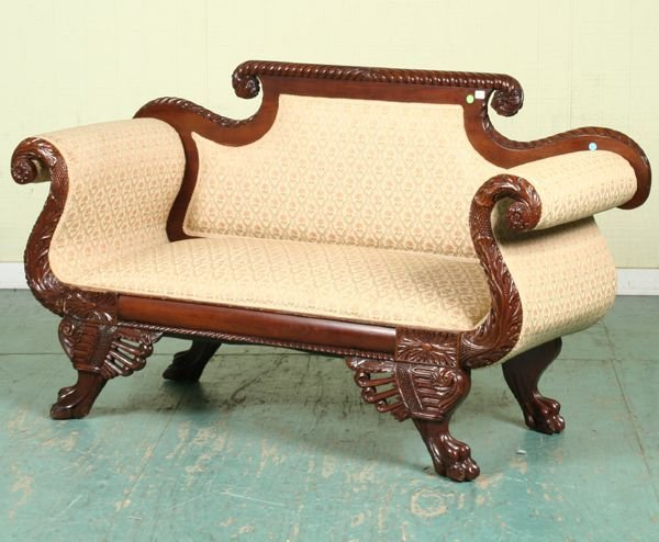 4: Fine Federal Revival loveseat, solid mahogany, gadro