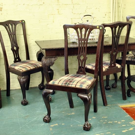 7: Set of four Chippendale Revival dining chairs, solid
