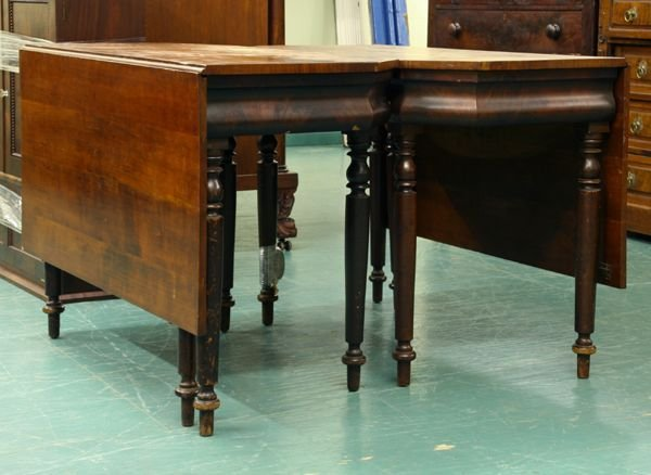21: 1830 Sheraton two part dining table, solid cherry,
